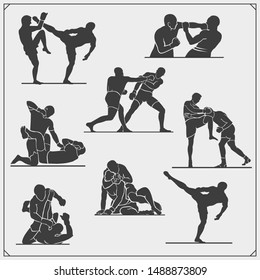 Set of fighting club emblems, labels, badges and icons. Fighters silhouettes.