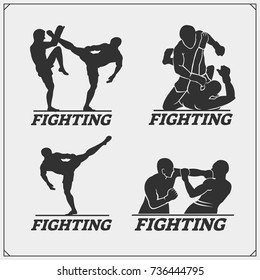 Set of fighting club emblems, labels, badges and icons.