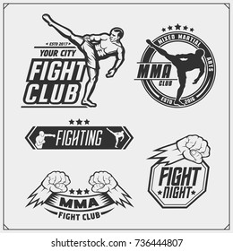 Set of fighting club emblems, labels, badges and design elements.