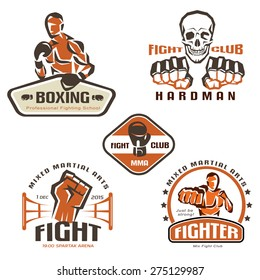 Set of fighting club emblems, MMA, boxing labels and badges