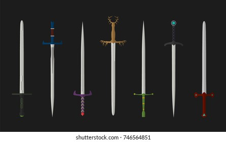 Set of fighting knight swords. Metal european straight knight swords.Illustration of kings weapons. Vector medieval weapons.