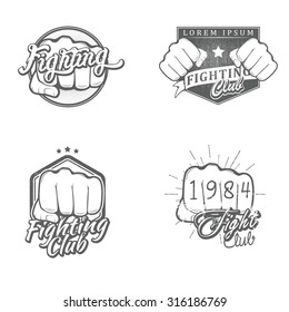 Set of fighting labels, badges, icons, logos and design templates. Vector illustration.