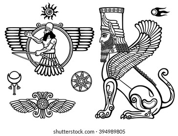 Set of figures of the Assyrian mythology: sphinx, winged god, Solarises.