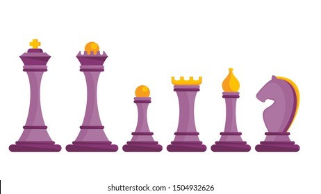 Set of figures for chess. King, queen and rook, bishops, knights and pawn. Board logic game, horizontal bar between two rivals. Strategy board game. Flat cartoon objects isolated on white background.