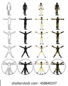Set of figures vitruvian man in different positions, vector