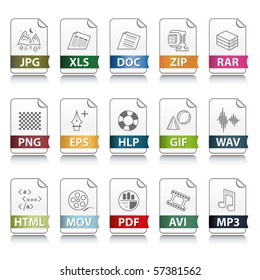 Set of file extension vector detailed icons