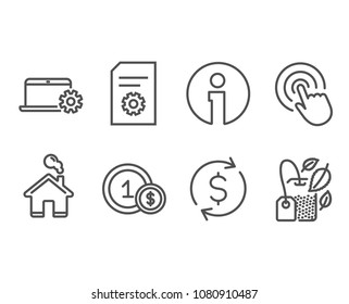 Set of File settings, Notebook service and Usd coins icons. Click, Dollar exchange and Mint bag signs. File management, Computer repair, Cash payment. Cursor pointer, Banking rates, Mentha tea