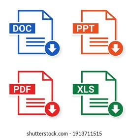 Set of of file type. Format and extension of documents. PDF, DOC, PPT and XLS. File download. Illustration vector