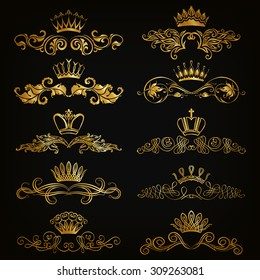 623460e5b718 Set of filigree damask ornaments. Floral golden elements