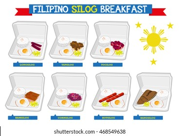 Set of Filipino Breakfast called Silog on packaging box  which is a mixture of rice, variety of marinate meat and egg. Editable Clip Art.