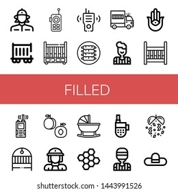 Set of filled icons such as Firewoman, Railway carriage, Walkie talkie, Cradle, Ribs, Prisoner transport vehicle, Referee, Semitic neopaganism, Peach, Bond, Confetti , filled