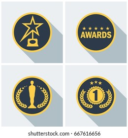 Set film Award for best film. Movie Theater, Cinematic Award, Movie Premiere. Flat vector cartoon illustration. Objects isolated on a white background.