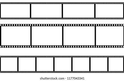 Set of film frame on a transparent background. Vector illustration.