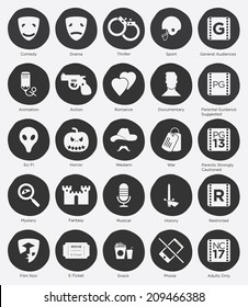 Set of Film Genres Icon and Film Rating System in Flat Design, Vector