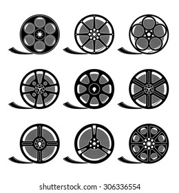 Set of film reels isolated on white, black silhouettes, EPS 8