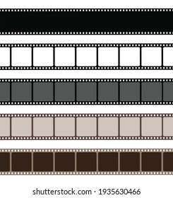 Set film strip isolated on white background. Old retro film strip frame. Vector stock