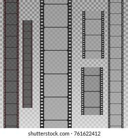 Set of film strip isolated on transparent background. Vector Illustration
