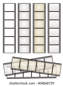 set of film strip with variation on white