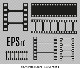 Set of film vector stripes isolated on transparent background.Film strip roll. Vector cinema background.