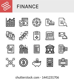 Set of finance icons such as Bond, Combination chart, Currency, Coin, Payment method, Report, Transaction, Blockchain, Fintech, Credit card, Bill, Money, Calculator , finance