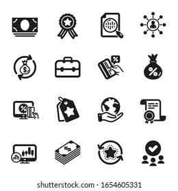 Set of Finance icons, such as Money exchange, Loyalty tags. Certificate, approved group, save planet. Portfolio, Credit card, Networking. Dollar, Candlestick chart, Online shopping. Vector