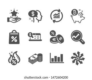 Set of Finance icons, such as Online accounting, Savings, Hot loan, Loyalty program, Versatile, Bitcoin coin, Update data, Pay, Shopping bag, Report diagram, Currency exchange, Analytics. Vector