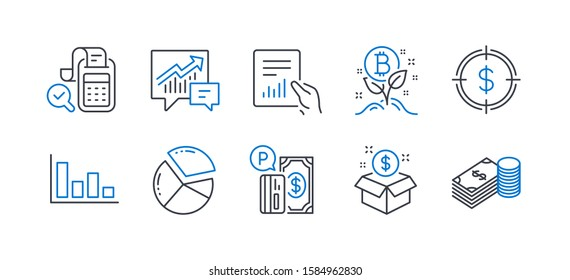 Set of Finance icons, such as Post package, Document, Dollar target, Bitcoin project, Histogram, Accounting, Pie chart, Parking payment, Bill accounting, Savings line icons. Vector