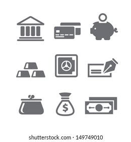 Set of finance and money icons in vector