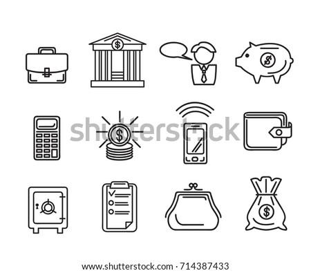 set financial icons purse portfolio manager stock vector royalty