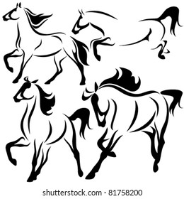 set of fine horses outlines - vector collection