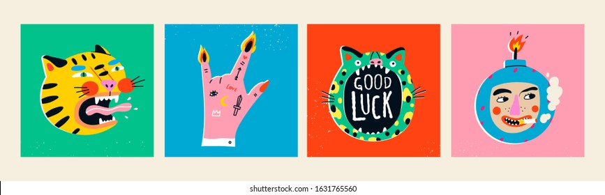 Set of Finger Horns gesture, Bomb with Cigarette, roaring Tiger, Green Leopard. Hand drawn trendy Vector illustrations. Comic, cartoon quirky style. Trendy design. Bright colors. T-shirt prints