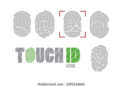 A set of fingerprint icons. Finger print scanning identification system. Biometric authorization, business security and personal data protection concept. Vector Touch ID icons
