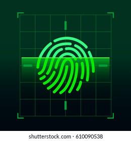 Set of fingerprint vector flat line icons. Linear fingerprints, head profile fingerprint, security shield fingerprint, locked, unlocked, log in, scanning, recognizing, shopping, document access