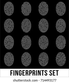 Set of fingerprints, biometric information with unique combinations of curve lines on black background isolated vector illustration