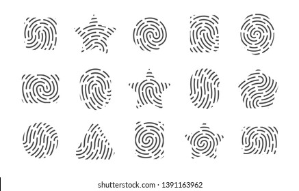 Set of fingerprints symbols, fingerprint icons of different shapes isolated on a white background, vector illustration