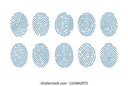 Set of fingerprints of various types isolated on white background. Traces of friction ridges of human fingers. Method of forensic science, person's identification. Monochrome vector illustration