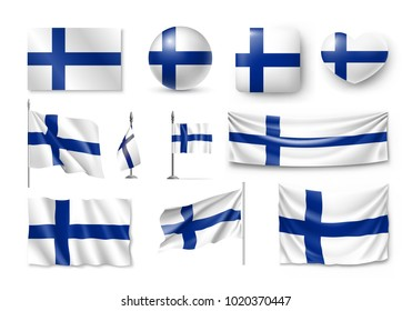 Set Finland flags, banners, banners, symbols, flat icon. Vector illustration of collection of national symbols on various objects and state signs