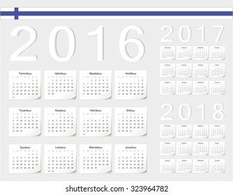 Set of Finnish 2016, 2017, 2018 vector calendars with shadow angles. Week starts from Sunday.