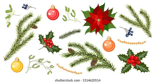 Set with fir tree branches, holly berries, mistletoe, poinsettia flower and balls isolated on white background. Christmas decoration set. Vector illustration.