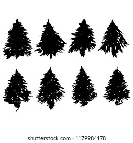 Set of fir tree silhouettes. Black grunge Christmas trees. Watercolor spruces isolated on white background. Vector illustration.
