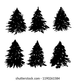 Set of fir tree silhouettes. Black grunge Christmas trees collection. Watercolor spruces isolated on white background. Vector illustration.