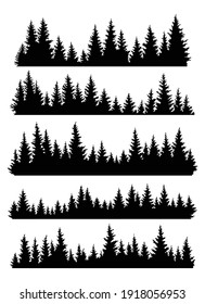 Set of fir trees silhouettes. Coniferous spruce horizontal background patterns, black evergreen woods vector illustration. Beautiful hand drawn panoramas of a coniferous forest