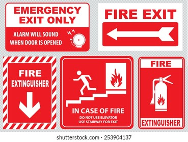 Set Of Fire Alarm (fire exit, emergency exit only, alarm will sound when door is opened, fire extinguisher, do not use elevator, use stairway, in case of fire). easy to modify.