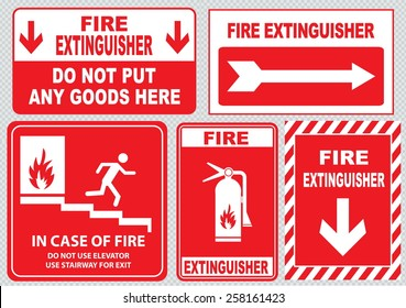 Set Of Fire Alarm (fire exit, emergency exit only, do not put any goods here, fire extinguisher, do not use elevator, use stairway, in case of fire). easy to modify.