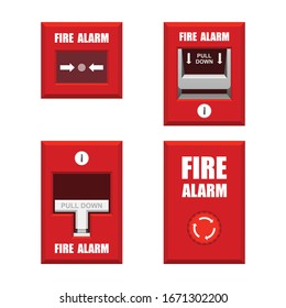 Set of fire alarms vector illustration isolated on white background