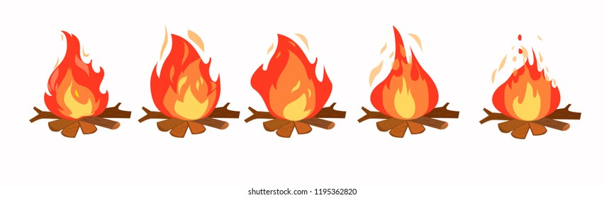 Set of fire animation, vector flat style.Bonfire, motion footage