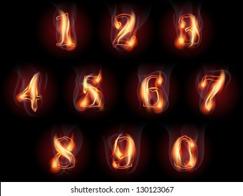 set of fire burning arabic numbers