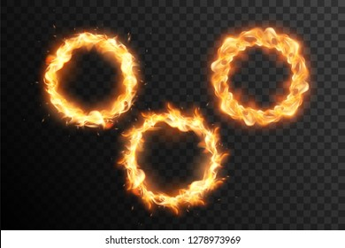 Set of fire circle. Ring of fire flame. Round fiery frame.