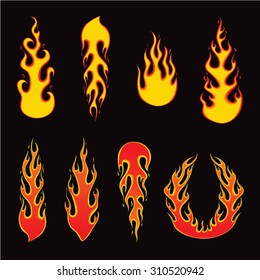 Set of fire elements and burning fire