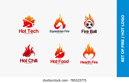 Set of Fire Flame logo designs concept, hot technology, equestrian fire, fire ball, hot chili, hot food, hearth fire logo designs vector